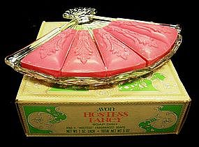 Avon Hostess Fancy Fan-Shaped Soap Dish and Soaps