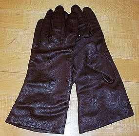 Brown Alligator-Look Lined Ladies Driving Gloves