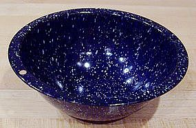 Small Navy Splatterware Enamel Bowl