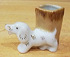 Ceramic Toothpick Holder Dog w/ Stump Occupied Japan