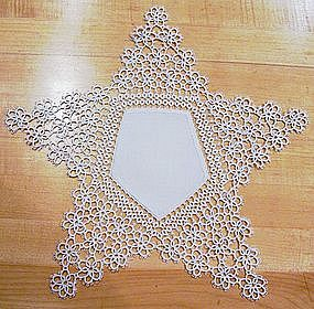 Handmade Star Doily with Tatting Points