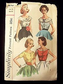 1950's Simplicity Blouse Pattern Size 12