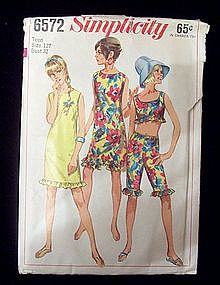 1960's Simplicity #6572 Summer Dress, Pants Teen 12