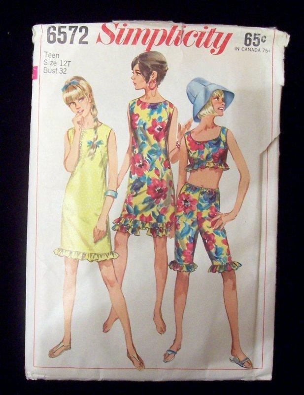 1960's Simplicity #6572 Summer Dress, Pants Teen 12