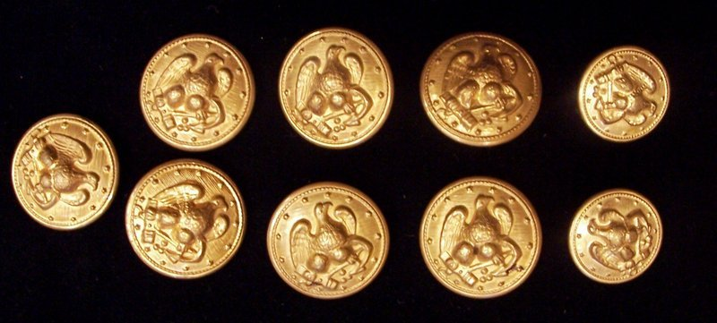 Buttons! Vintage Gold Eagle Metal Coat Buttons
