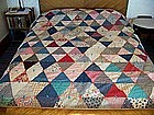 Antique Hand-tied, Pieced Comforter w/ Wool-Batting