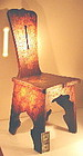 rare, unique set six arts and crafts wood chairs