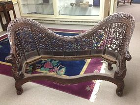 Fine Anglo Indian Rosewood/Teak Settee 1860