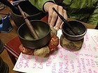 Japan bronze hammered Temple Bells Orin Gongs