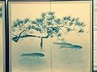 Japan fine pair antique painted screens KOI