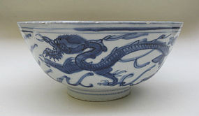 Ming Blue And White Large Bowl, Late Ming Period