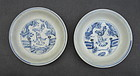 Two Ming Blue and White Soucer Dish with Human Motive
