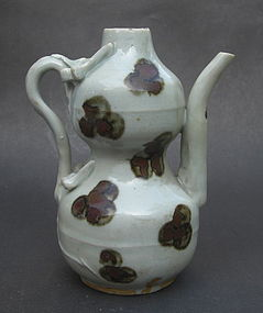 Yuan Dynasty Iron Red Spot Double Gourd Ewer