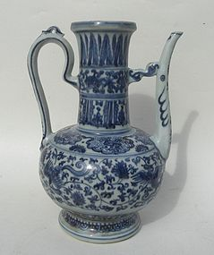 Ming Blue and White Large Ewer, 15th-16th Century