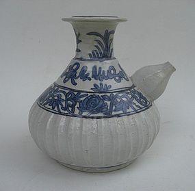 Ming Swatow Zhangzhou Blue& White Ewer (Kendi)