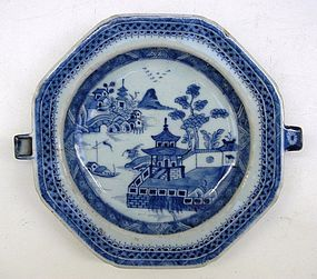 Qing Blue And White Export Warmer Dish