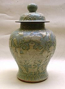 Qing Dynasty Celadon Glaze Jar And Cover