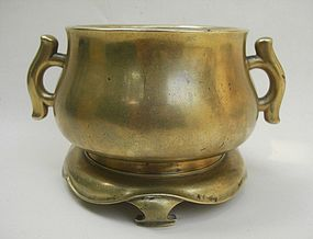 Chinese 18th Century Bronze Censer, Xuande Mark
