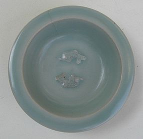 Song  Longquan Celadon Small Dish WithTwin Fish Motive