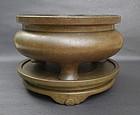 17th-18th Century Bronze Tripod Censer, Xuande Mark