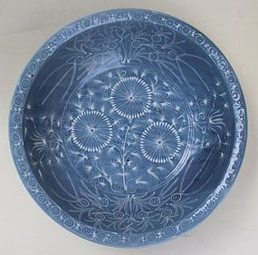 Blue Glaze Swatow Large Bowl With White Slip Motive