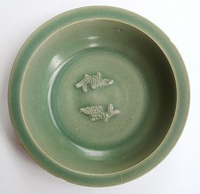 Song Dynasty Longquan Celadon Dish With Twin Fish, 20cm