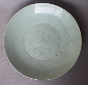 Ming Swatow Dish with Incised Fish Motive