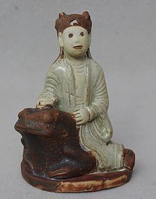 12th-14th Century Iron brown and white glaze Fairy sitting on the frog