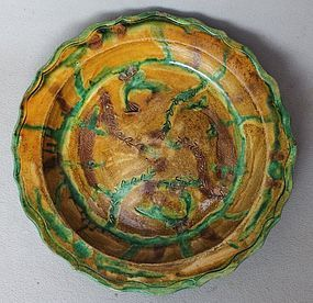 Chinese Ming 16th Century Sancai Dish with Fish Motive