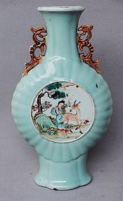 Chinese Qing Dynasty Famille Rose Vase, Qianlong Mark