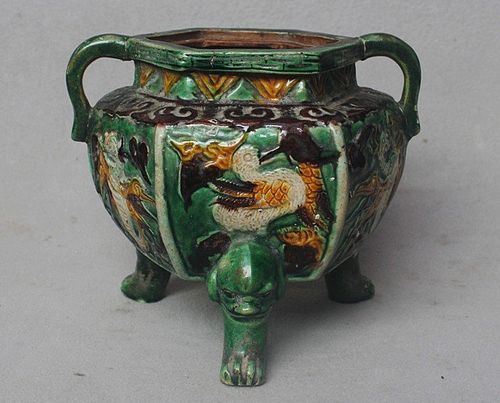 Chinese Hexagonal Sancai Glaze Tripod Censer