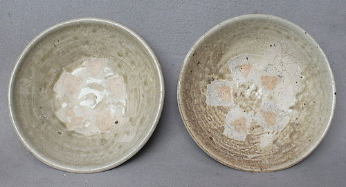 Two Chinese Tang Dynasty Green Glazed Bowls