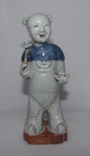 Chinese Qing Dynasty Blue and White Figure