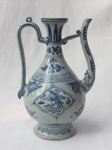 Chinese Ming Dynasty Blue and White Ewer, Xuande Mark