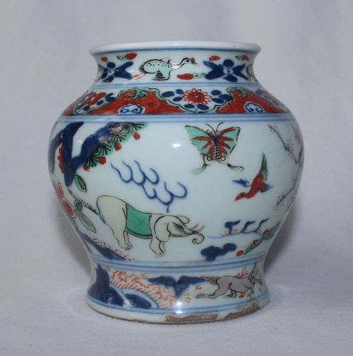 Chinese Qing Dynasty Wucai Jar