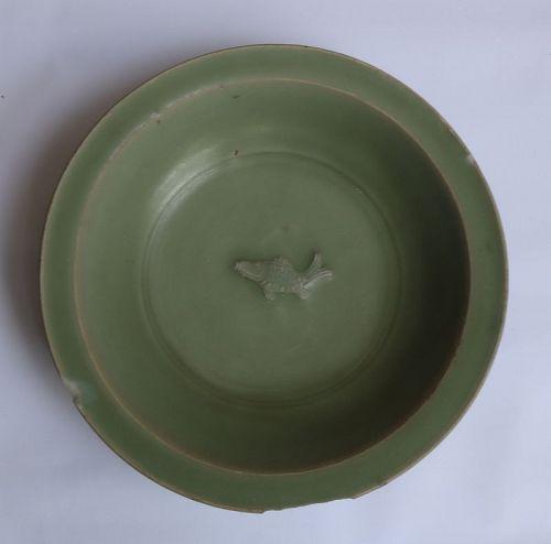 Chinese Longquan Celadon Dish with Single Fish