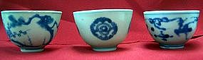 Three small blue and white bowl, Qing dynasty