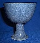 A Blue Glaze Stemcup