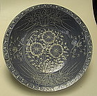 Blue Ground Swatow Big Bowl with White Slip Decoration