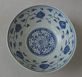 Ming blue and white large bowl with phoenix