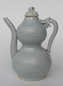 A Yuan Dynasty Double Gourd Ewer With Dragon Handle
