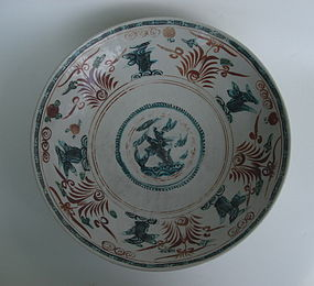 Ming Swatow Polychrome Ennamel Large Dish