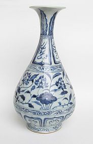 Rare Yuan dyn Blue and White Yuhuchun Vase (3)