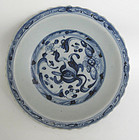 A Rare Ming Blue and White Dish with Celadon Glazed
