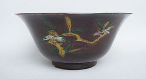 Purple Ground Sancai Bowl, Qing Dynasty