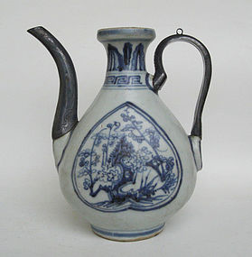 A Rare Ming B&W Ewer, 15th-16th Century