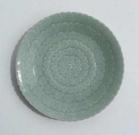Fine Qianlong Celadon Glaze Lotus Dish