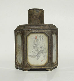 19th century Chinese pewter tea caddy , with mark.