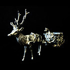 SILVER MINIATURE SLEIGH &REINDEER SALT CELLAR/STERLING