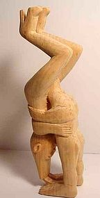 SULTON ROGERS CARVING/DEXTROUS COUPLE /FOLK ART/PINE